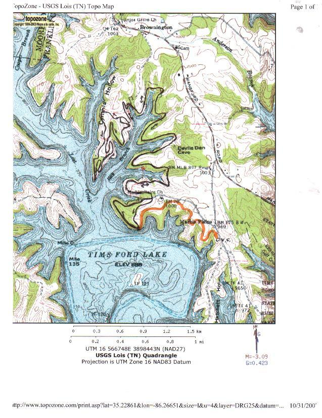 Tims Ford Lake Map