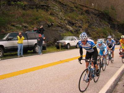 Lance Armstrong with Floyd Landis in background