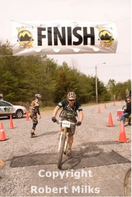 Crossing the finish line of The Snake Creek Gap Time Trial in March.