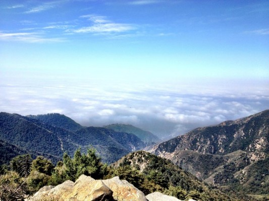 View from the top of Mount Wilson with Los Angeles hidden by clouds.