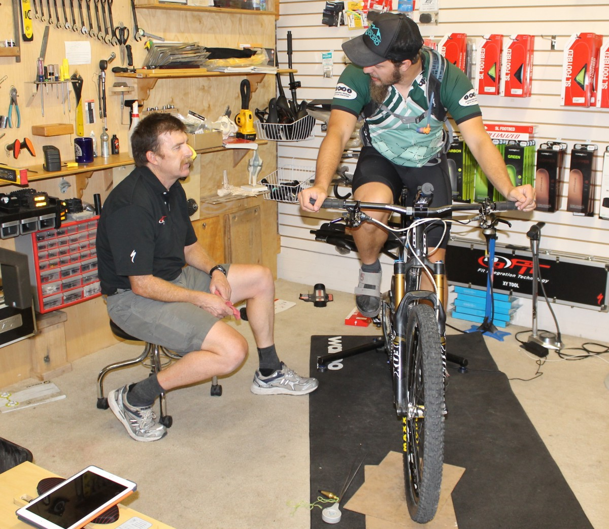 Shawn Gillis of Absolute Bikes in Salida, Colorado performs a fit for the author during the summer of 2015. Photo: Sydney Schalit.