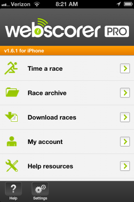 Webscorer in-app home page.