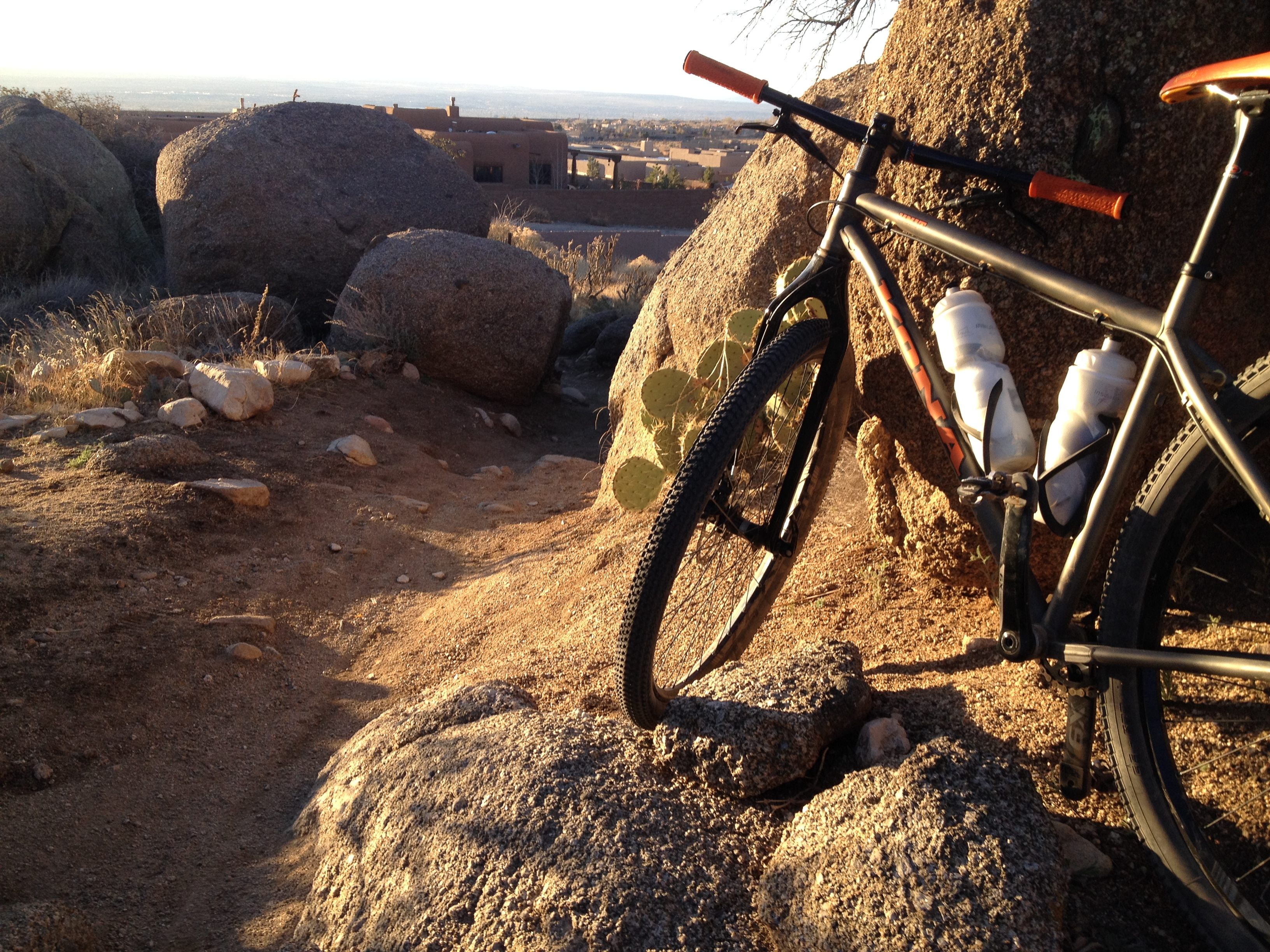 One of the tight, rocky sections in the Sandia Foothills that will jar your bones on a fully rigid mountain bike.