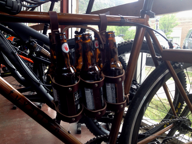 A clever approach for hauling a 6 pack, though you may want to steer clear of rock gardens