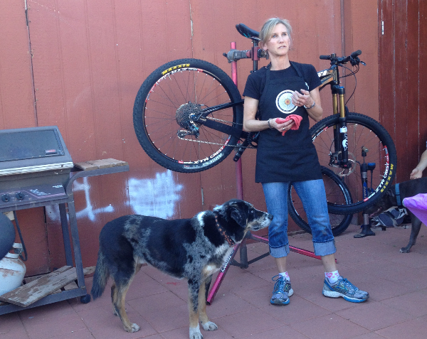 Demonstration on proper bike maintenance and how to fix your bike on the trail without relying on men.