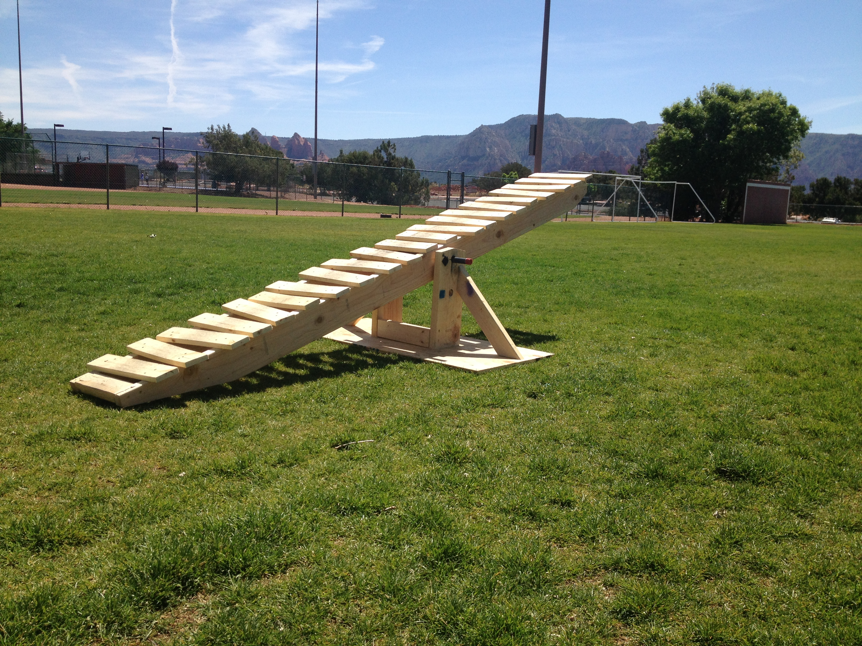 A teeter-totter to practice proper technique.