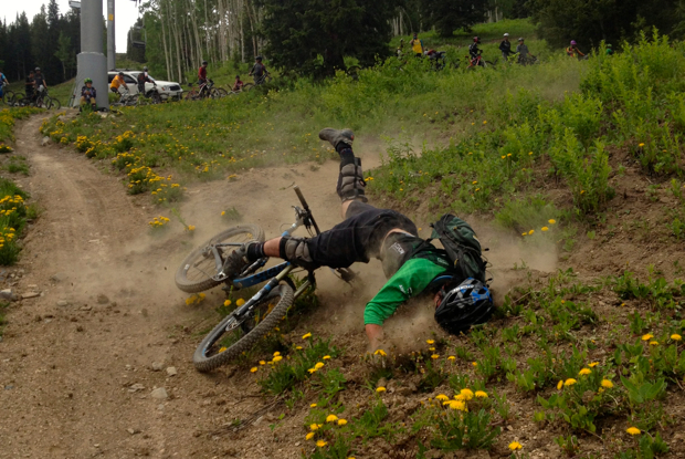 Carnage at the BME Snowmass Enduro race. Thankfully, the rider was fine. Photo: Greg Heil.