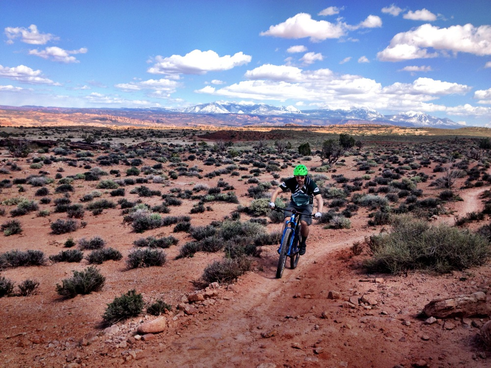 Chill climb in Moab with the snowy La Sals in the background. Photo: Summer.