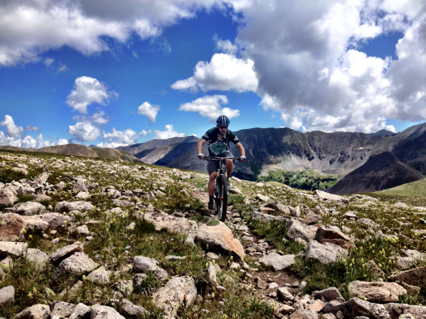 Riding my mountain bike at 12,581 feet above sea level.