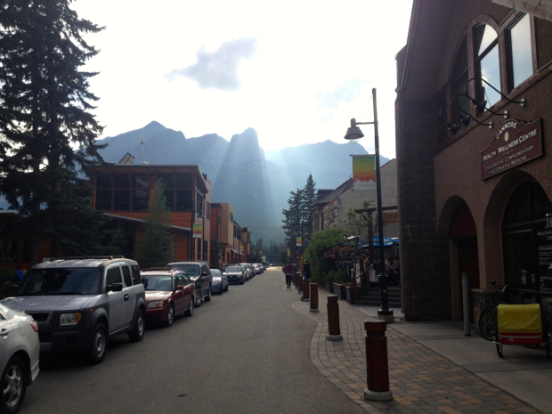 View of the mountains from downtown Canmore
