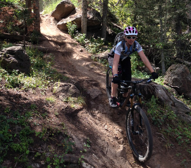 Tackling the Angel Fire Bike Park terrain with the Spank Oozy Trail flat pedal. And while you can take the XC girl to the bike park, but you can't hide the XC tendencies.