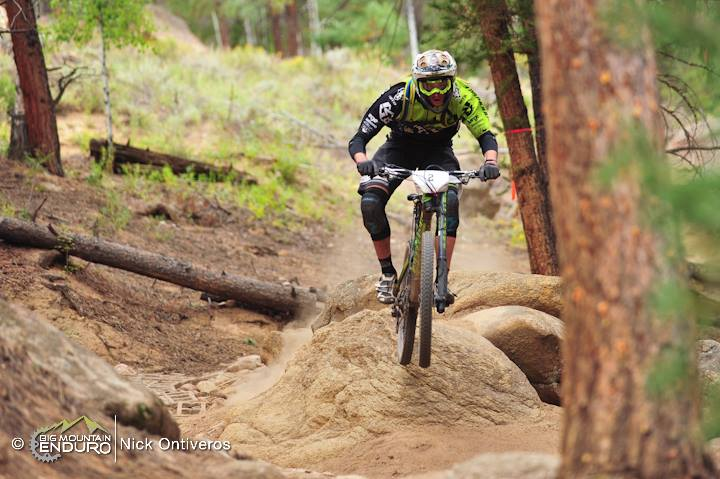 Blind rock drop on Doctor Park. Photo: Nick Ontiveros / Big Mountain Enduro