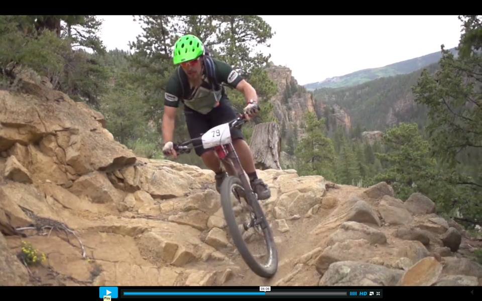 Yours truly ripping through the rocks on Doctor Park aboard the Cannondale Trigger. Credit: video still taken from the Big Mountain Enduro race recap video.