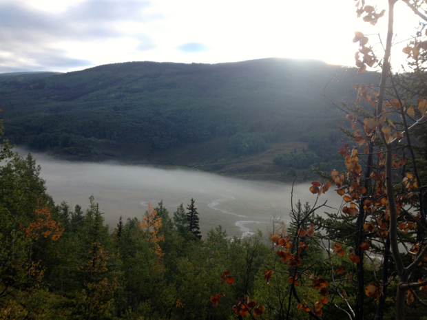 Low-lying fog in the valley where we started.