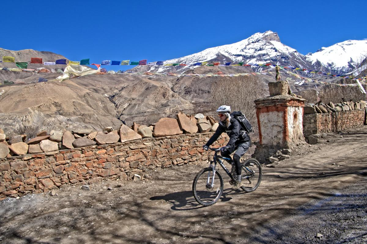 Mountain biking in Nepal. Photo: Vitalii Zaporozhets