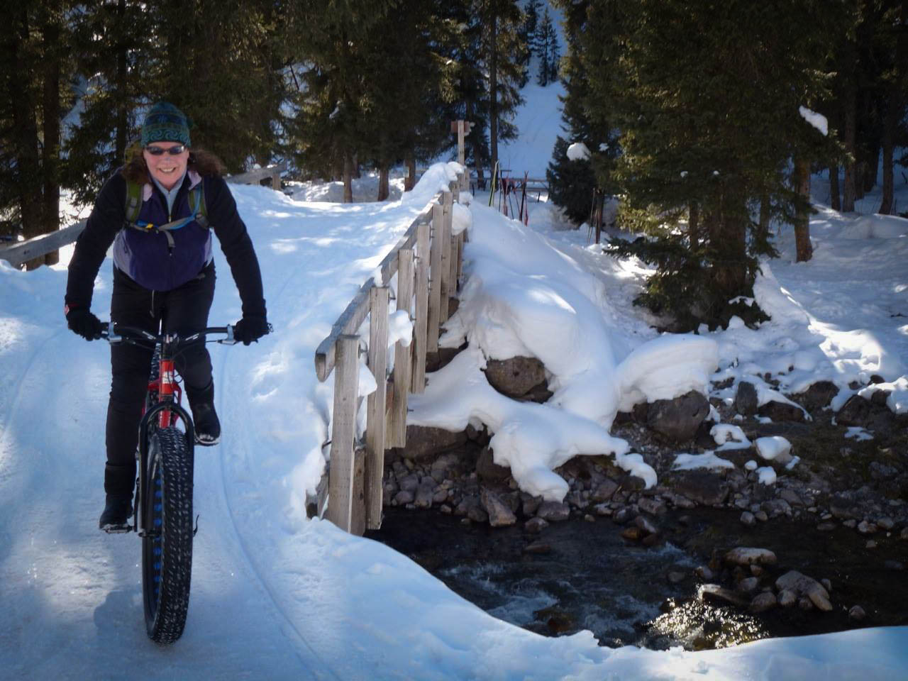A rider enjoys groomed trails on a fat bike. Photo courtesy of Curt Gowdy SP.