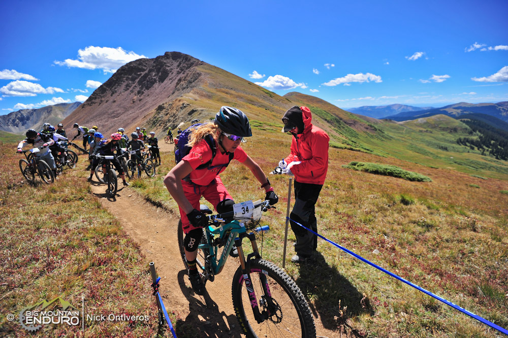 "Kathy Pruitt charges off of the start line on Day 1 of the Crested Butte Ultra Enduro. Pruitt has competed in the sport  since 1997, and feels that ""this announcement is truly setting the bar as far as treating athletes equally and  professionally."""