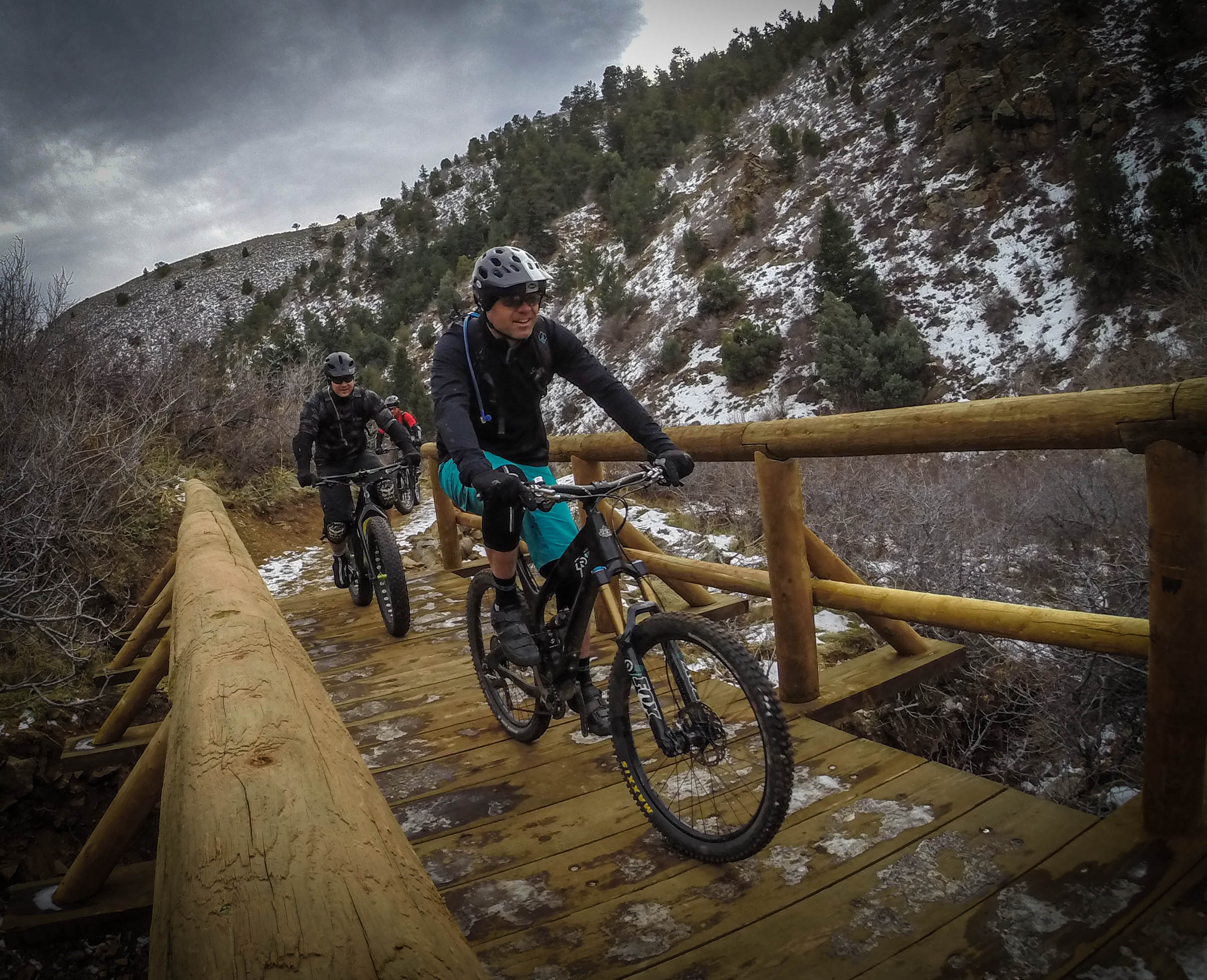 Mike H and myself ride one of the newly constructed bridges across an area of water drainage