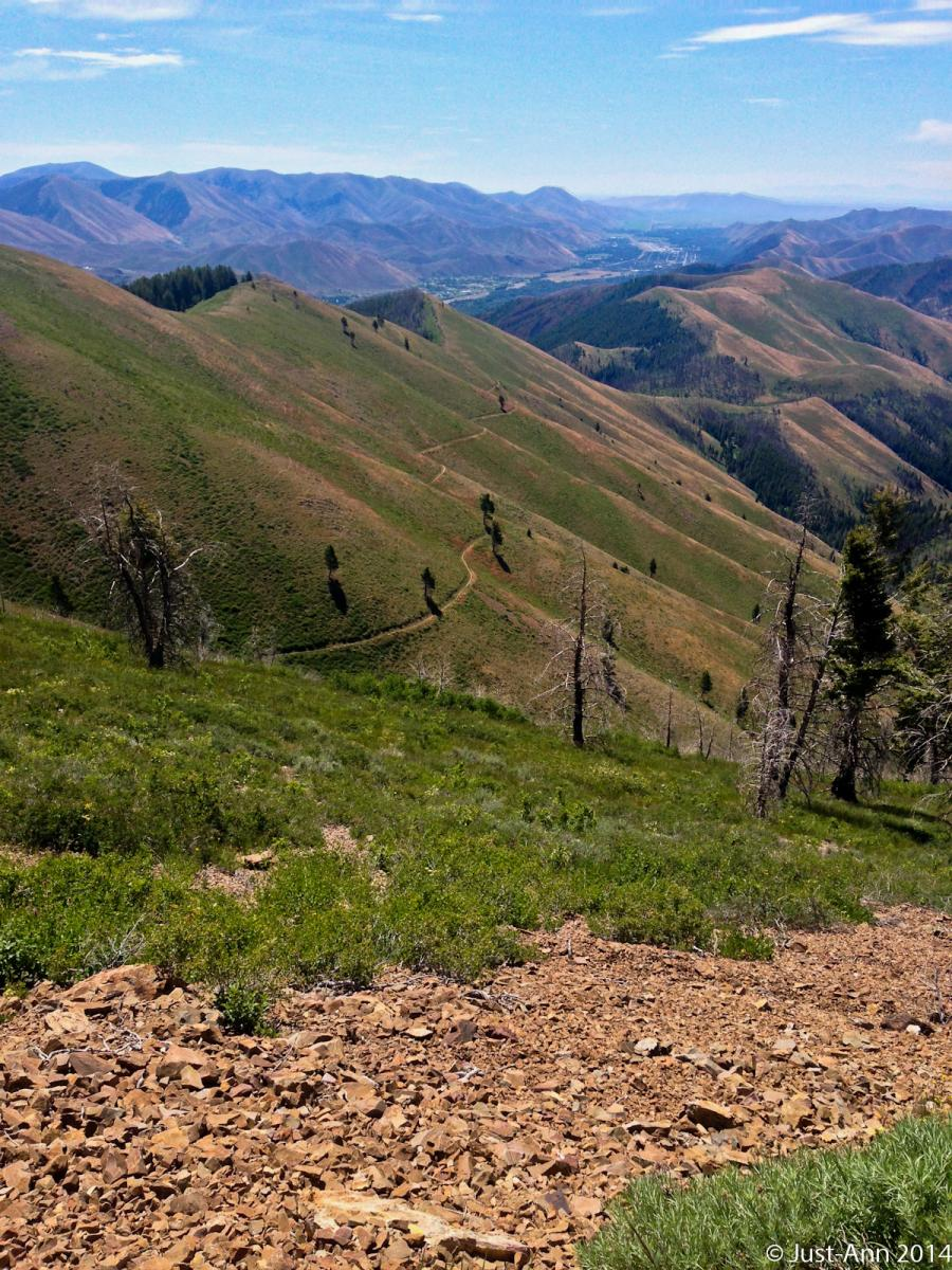 """Cold Springs trail (in the distance) as viewed from Brodway trail."" Bald Mountain, Ketchum, Idaho. Photo: justin70."