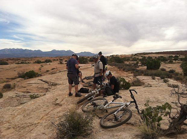bike maintenance on the Rockin A in Moab, UT