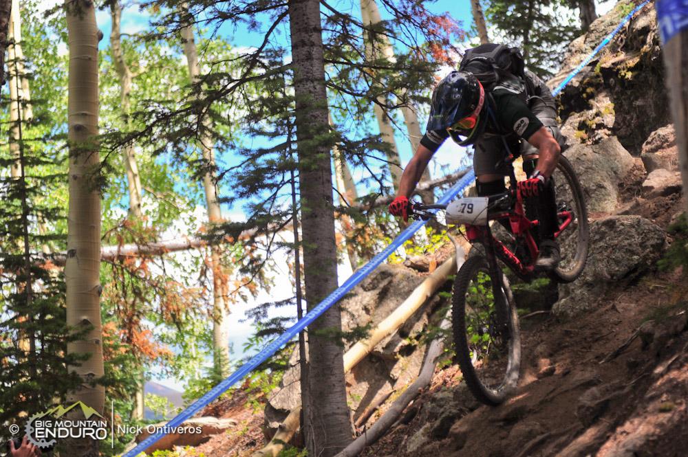 Beyond the limits on the double black diamond Captain Jack's DH race course. Photo: Nick Ontiveros / Big Mountain Enduro