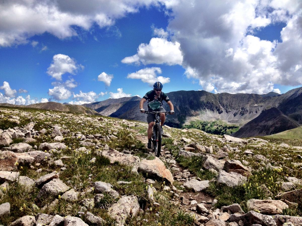 Riding at 12,600 feet on the Canyon Creek trail. This will be near the start of stage 3 of the Monarch Crest Enduro.