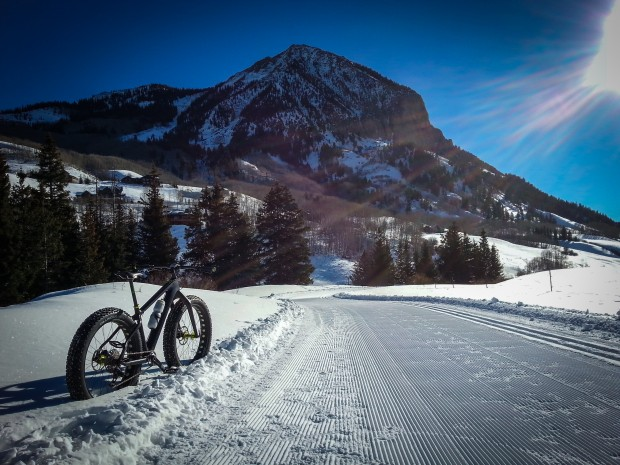 Fat biking a groomed, bike-legal cross country ski trail in Crested Butte. Photo: Michael Paul