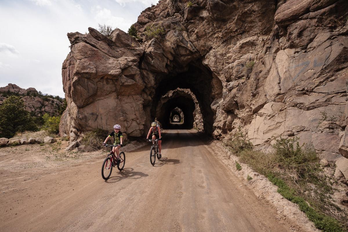 """Riding the railroad tunnels on the River Rd., Buena Vista, CO."" Photo: Scott Anderson."