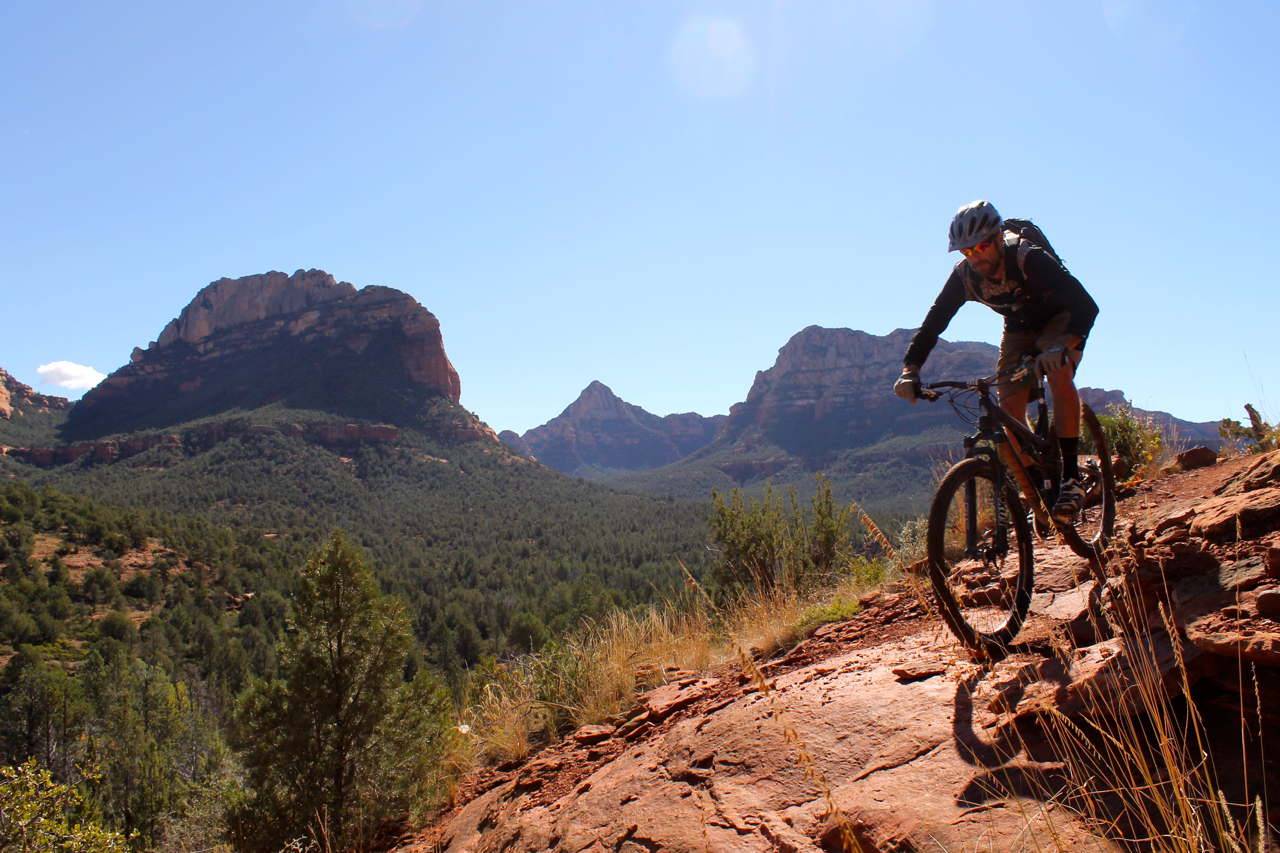 There are plenty of trees in Sedona! Rider: Matt Mcfee, Hermosa Tours.