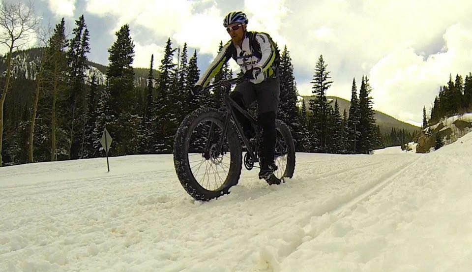 Fat biking on a snowmobile trail.
