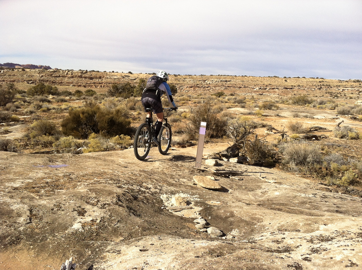 A rider cruises on the Boondocks trail at the North Klonzo trail system in Moab.