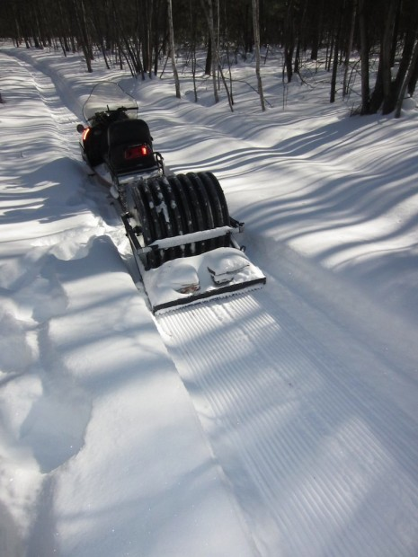 Machine-packing a singletrack fat biking trail at Levis Mound, Wisconsin. Photo: Steve Meurett