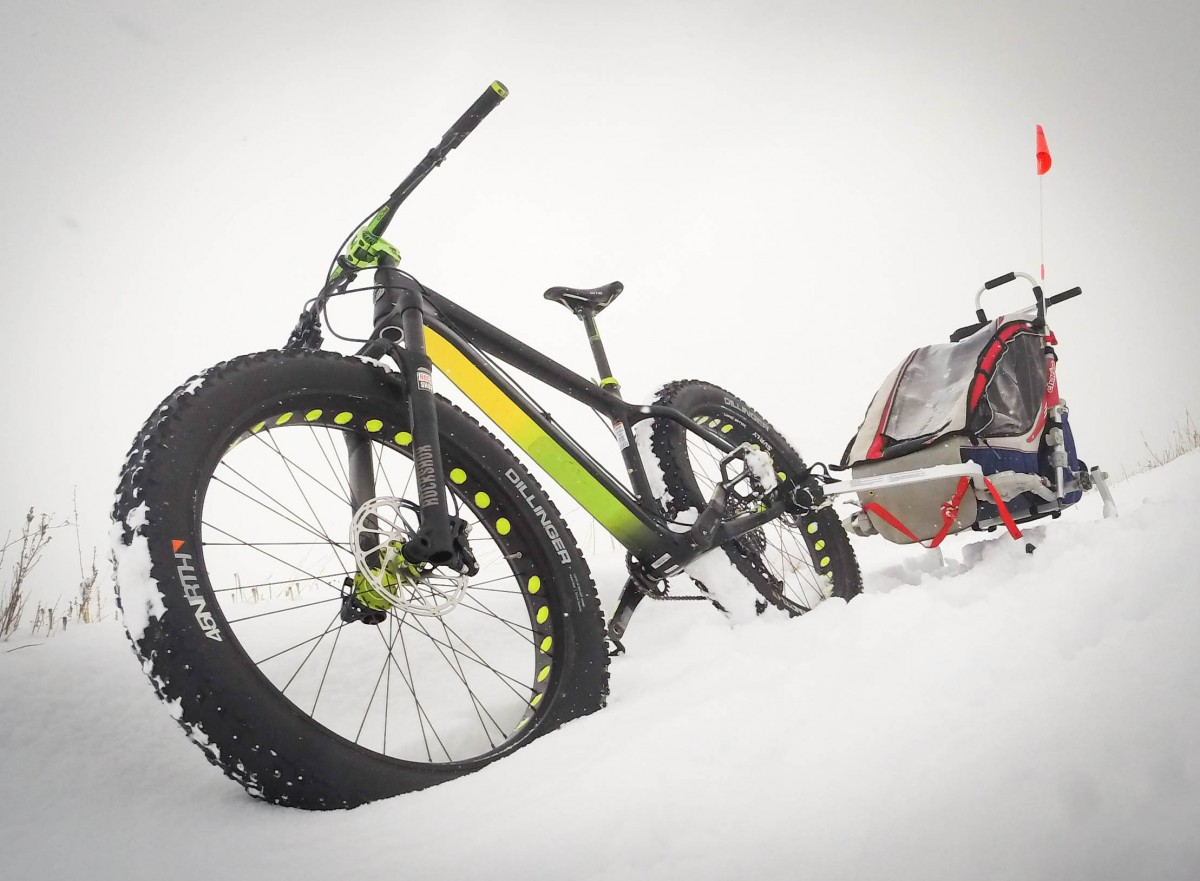 Going to a park or open space with deeper powder may make for a fun adventure, but deep powder is virtually impossible to pedal through with this setup