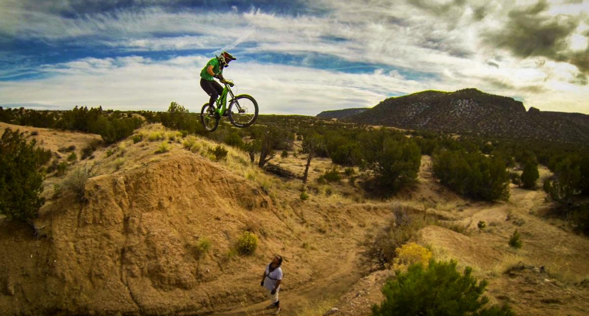"""Robby M sends the big one."" Freeriding in New Mexico. Photo: Jerry Hazard"