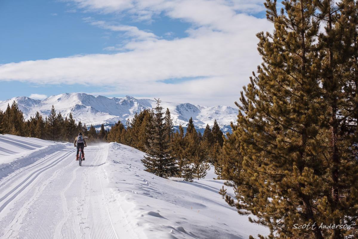 """The vast mountain views on the Mineral Belt Trail."" Rider: Nancy Anderson. Photo: Scott Anderson"