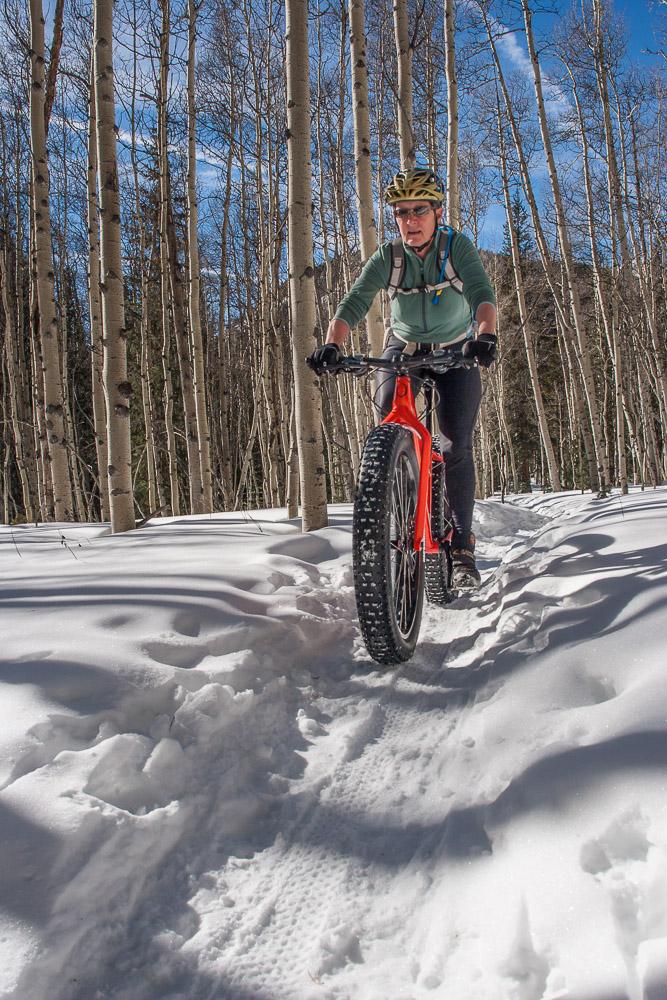 Enjoying the firm snowshoe tracks on the Poplar Gulch Trail