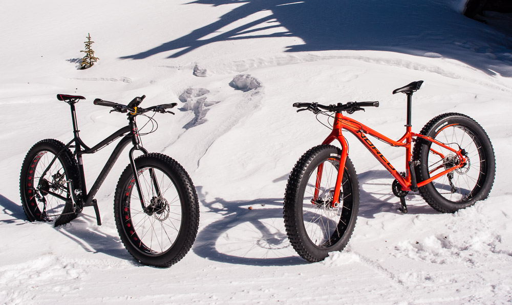 The new fat bikes taking a break on the Hancock Pass road. All photos by Scott Anderson