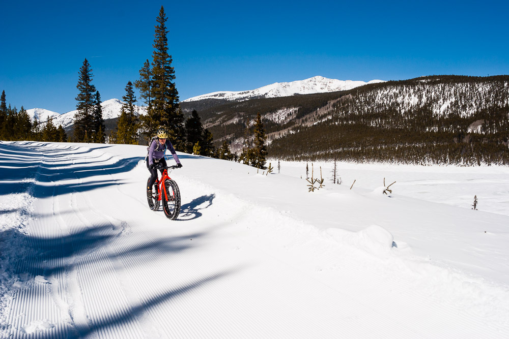 Groomed but soft tracks on the Turquoise Lake snowmobile trail after days of heavy snowfall