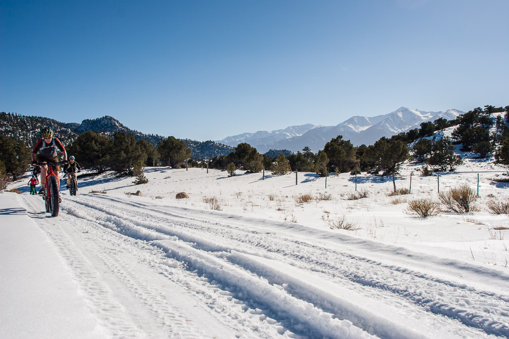 Still firm snow on FSR 373 in the Fourmile Travel Management Area