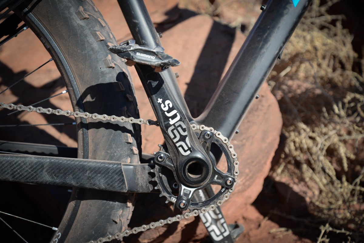 The co-developed E-thirteen cranks allow a lower Q Factor, are bombproof, and easily servicable