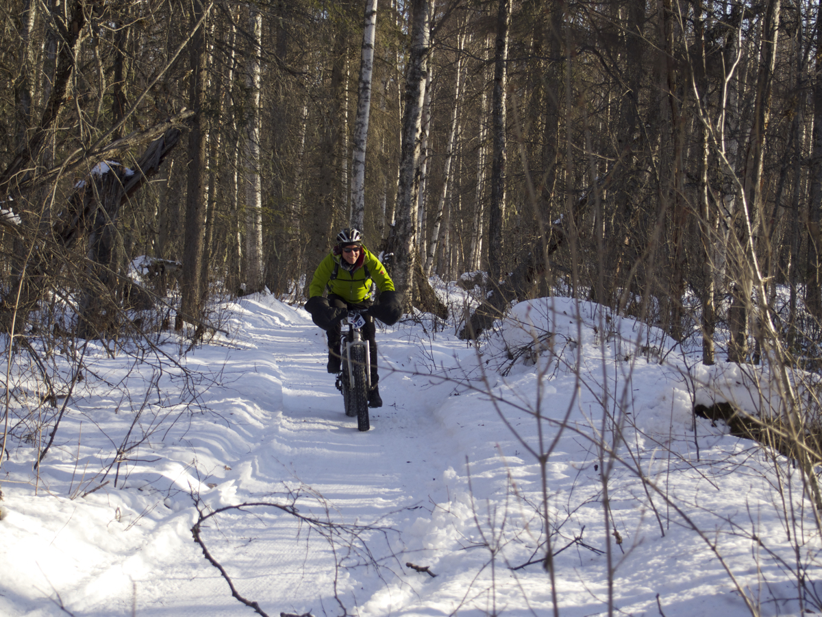 All smiles while carving through the woods