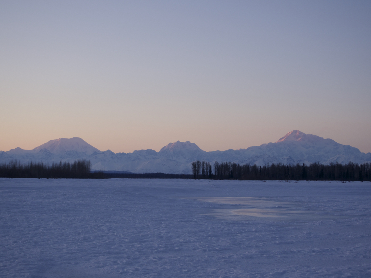 Riders were treated to fantastic views of the Alaska Range as the course wound its way along the Talkeetna River