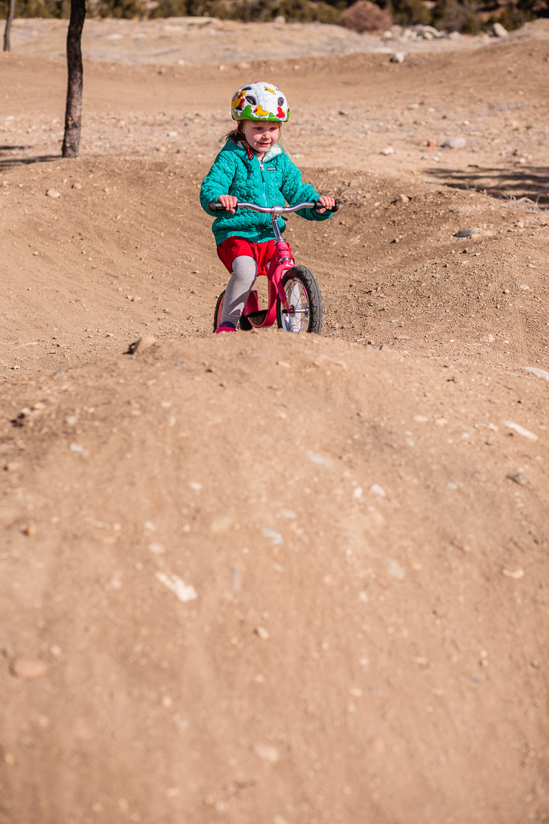 Elle just shy of her 5th birthday rides the Buena Vista pump track