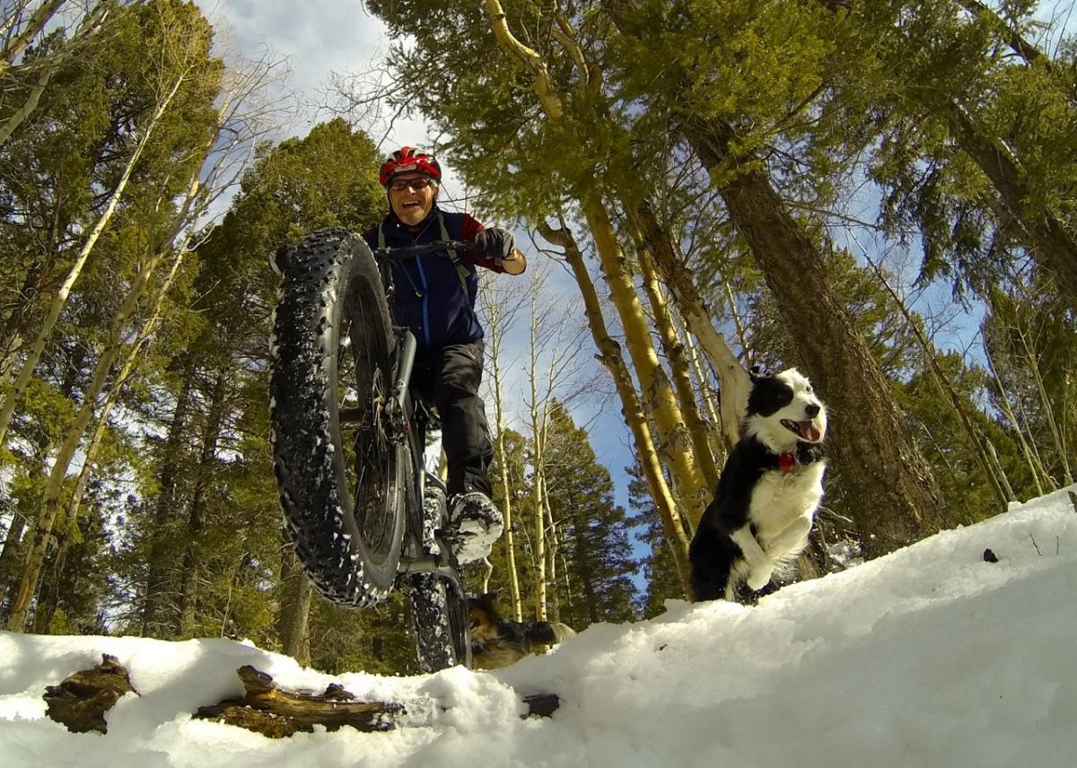 """Snow biking with the pups on the Aspen Vista Spur."" Santa Fe, New Mexico. Photo: Bob Ward"