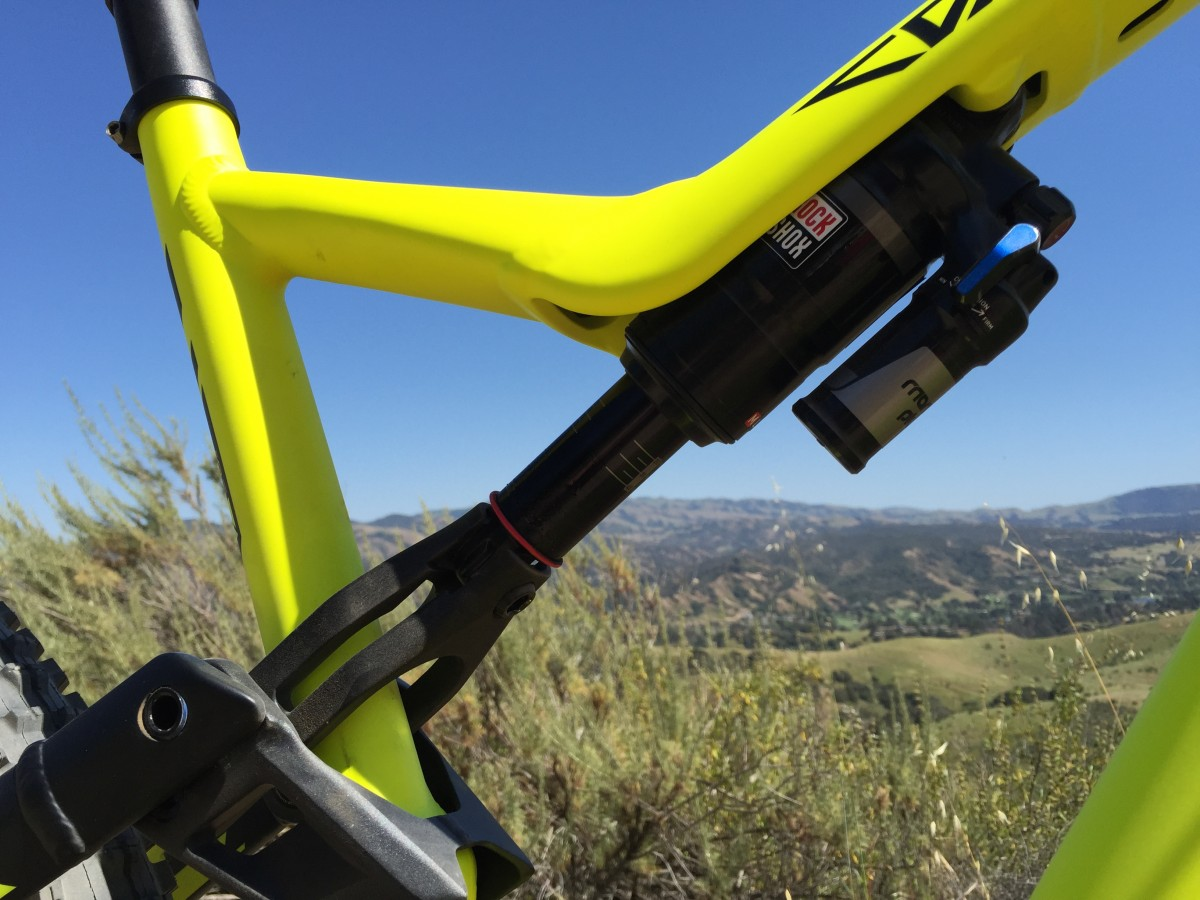 The RockShox Monarch Plus shock partially hidden in the top tube