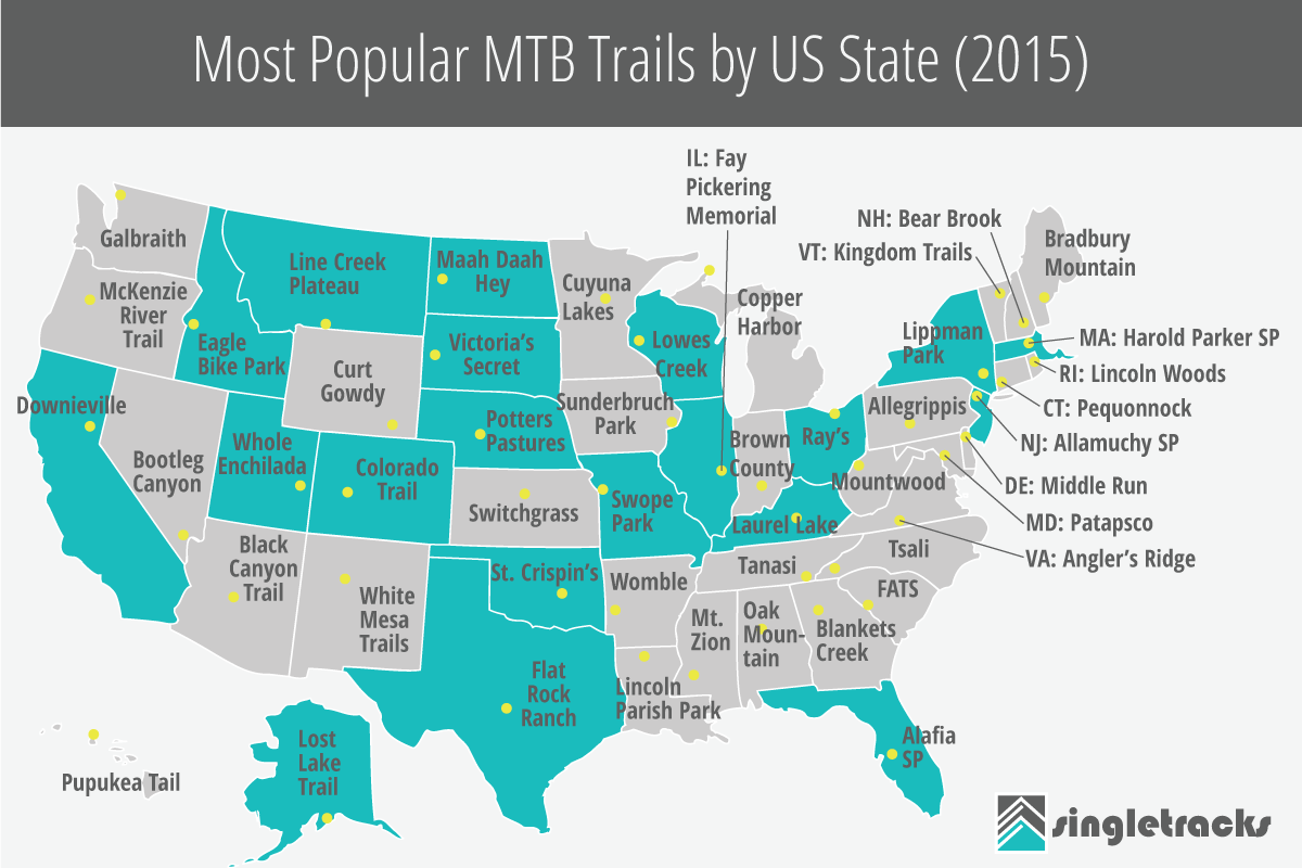Most Popular Front Door Colors Download Page: Most Popular Mountain Bike Trails By US State (2015