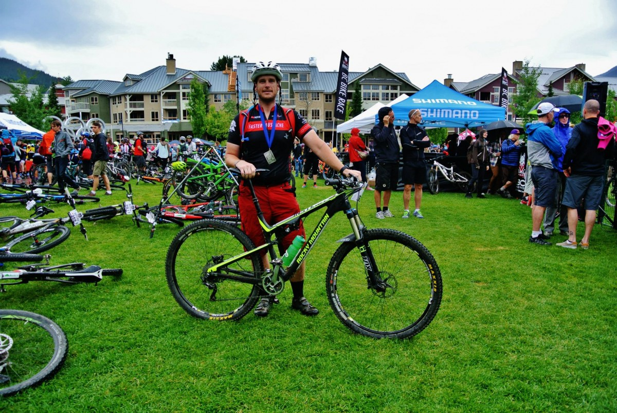 At the finish of the BC Bike Race 2014