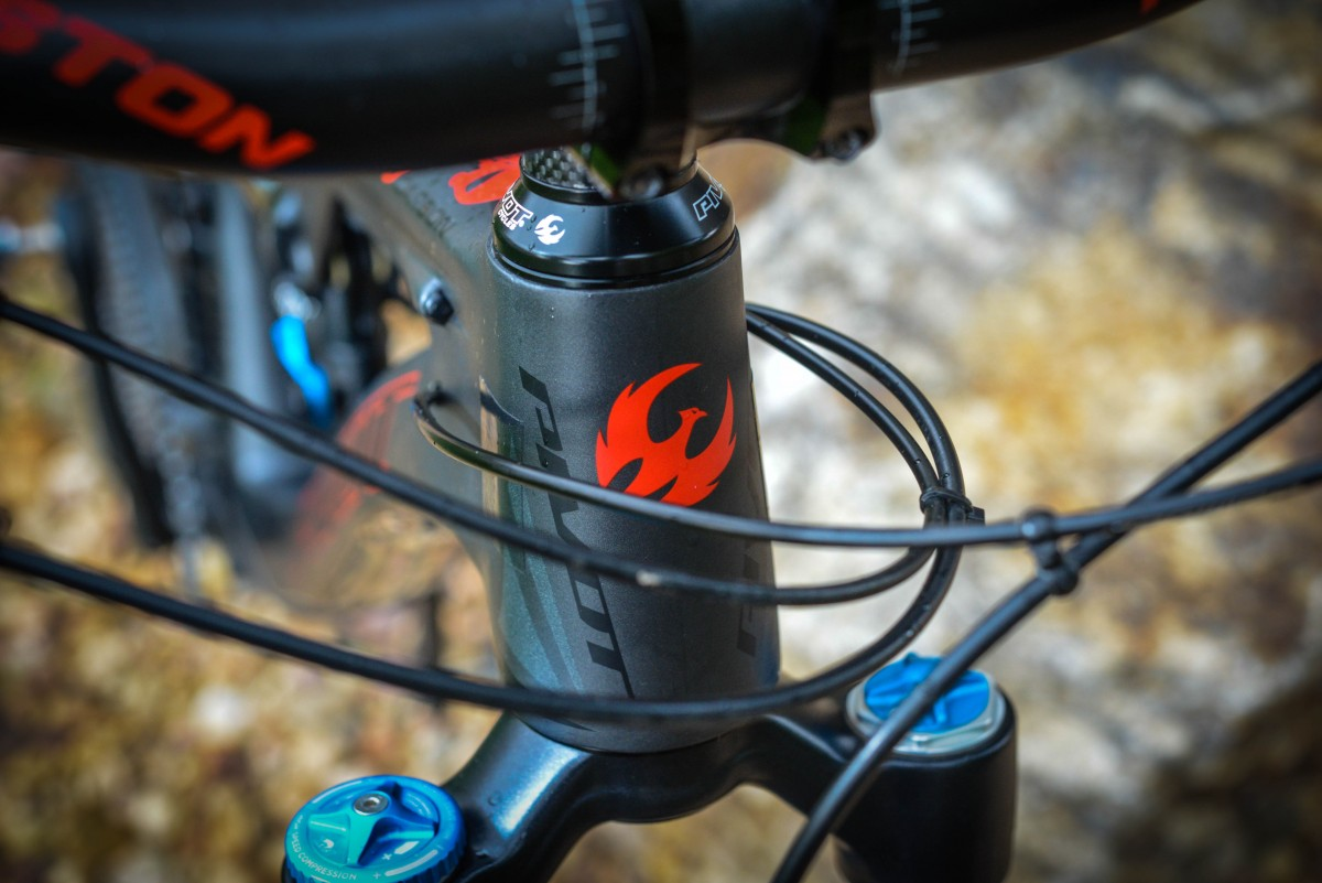 The headbadge is simple but makes a bold, fiery, red statement about the brawniness of the headtube