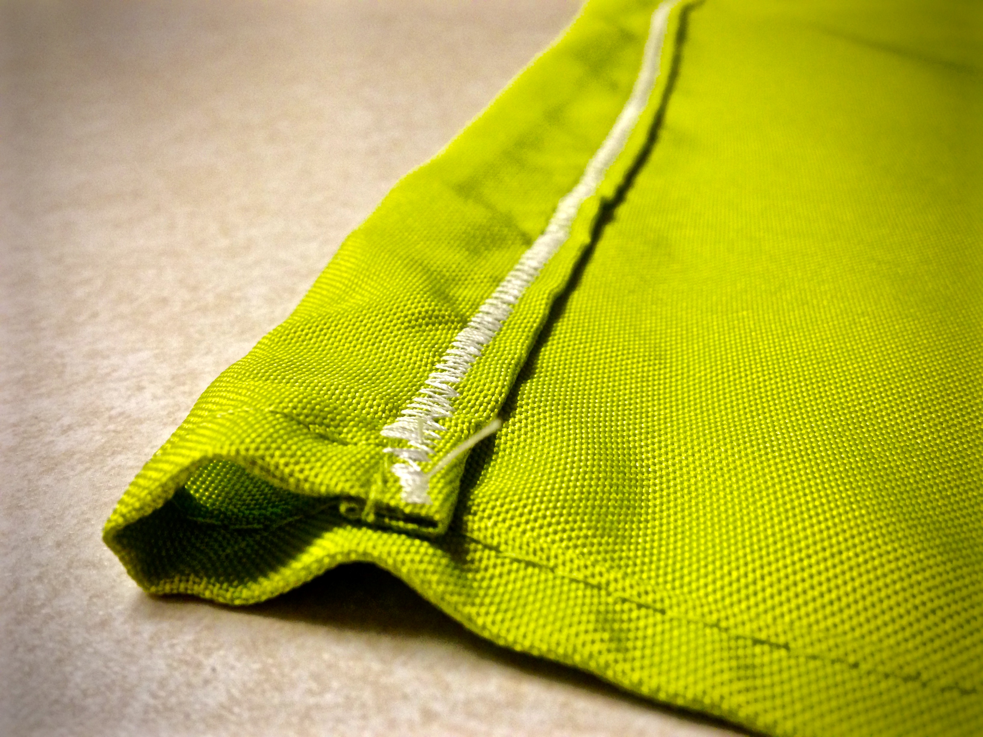 """1"""" hem leaves room to use a variety materials to gather the ends if you opt out of the ziptie method"""