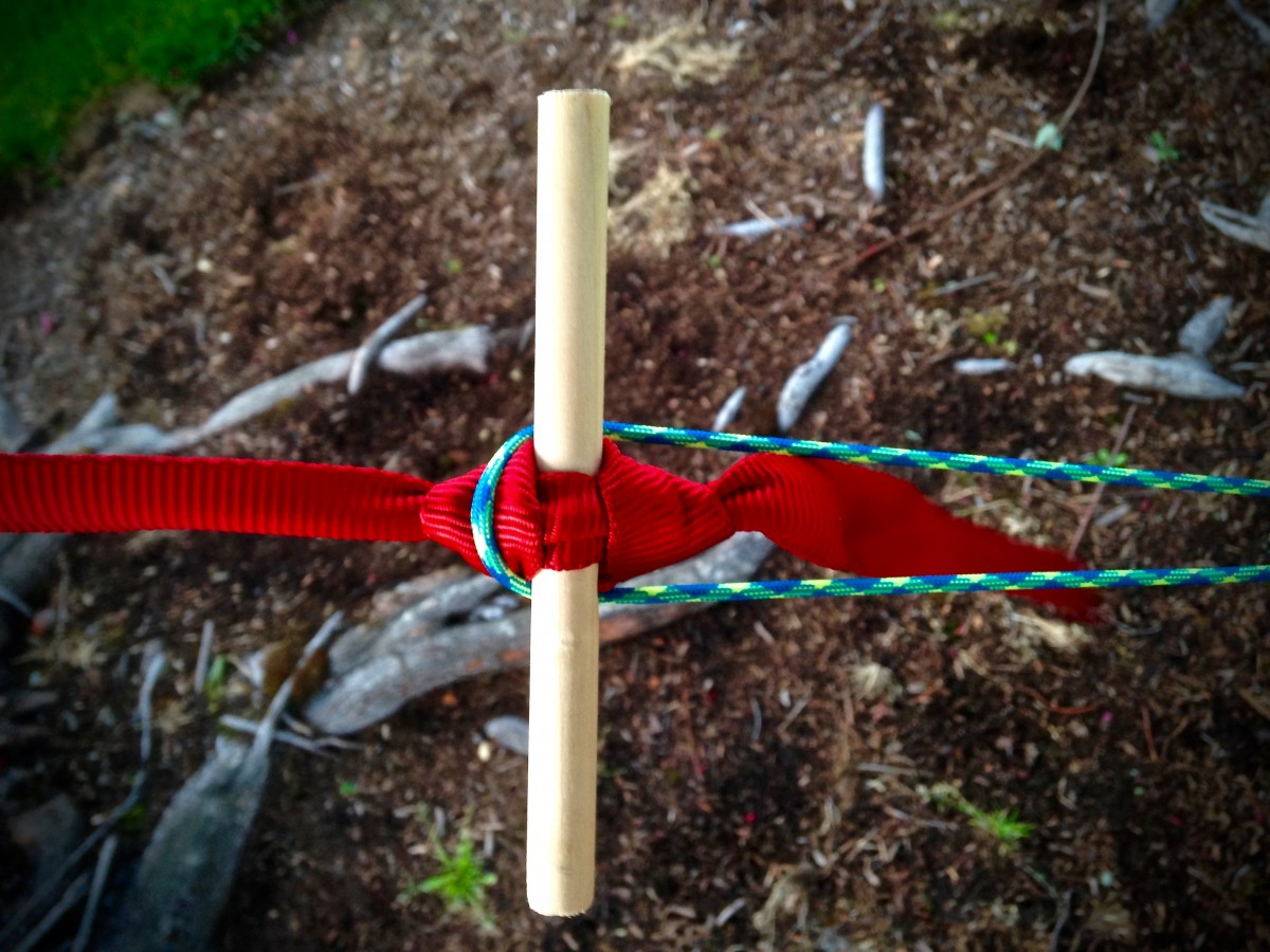 Thread stick through a marlinspike hitch at ends of straps Hang loops over toggle